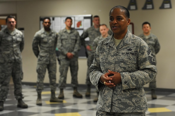U.S. Air Force Chief Master Sgt. Shelina Frey, command chief for Air Mobility Command, engages with Airmen from the 19th Aircraft Maintenance Squadron during her tour of the base Nov. 1, 2016, at Little Rock Air Force Base, Ark. Airmen from units across the installation familiarized Frey with their unit's missions during her visit.