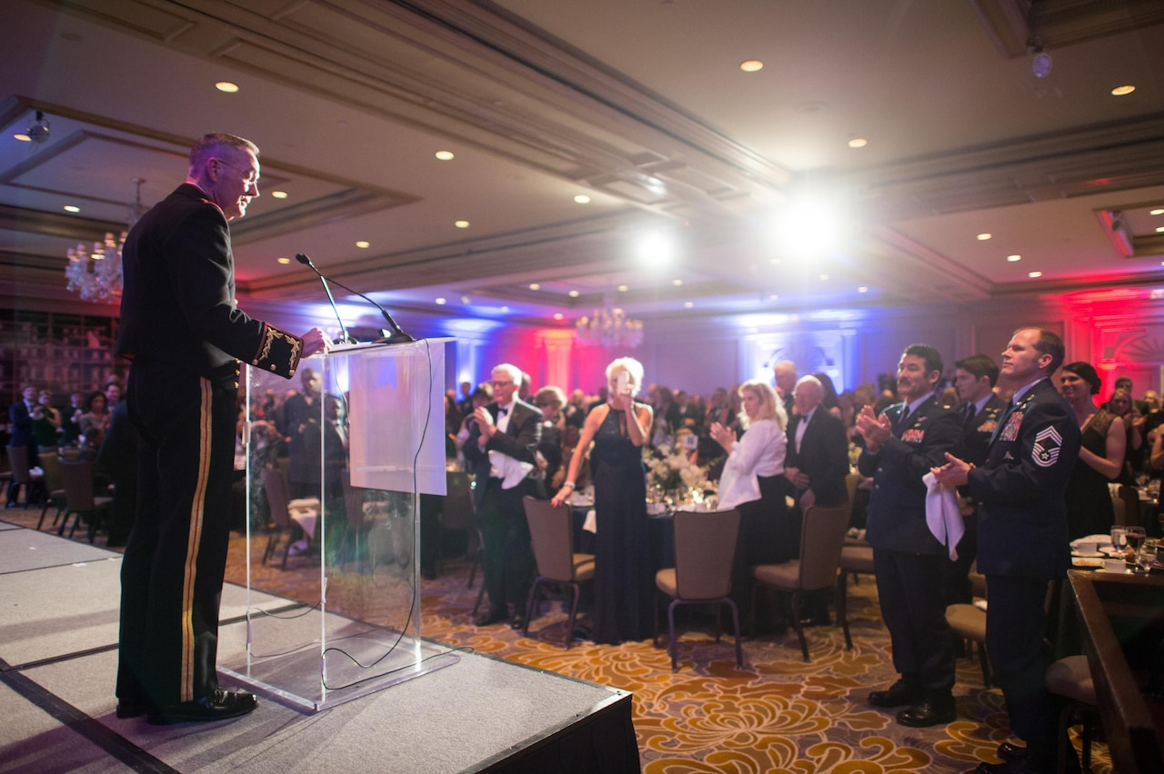 Marine Corps Gen. JoeDunford, chairman of the Joint Chiefs of Staff, delivers the keynote remarks during the 2016 Armed Services YMCA Angels of the Battlefield Awards Gala in Arlington, Virginia, Nov. 4, 2016. The 10th Annual Angels of the Battlefield Awards Gala honored medics, corpsmen and pararescuemen who demonstrated extraordinary courage while administering life-saving medical treatment and trauma care on the battlefield. DoD Photo by Army Sgt. James K. McCann