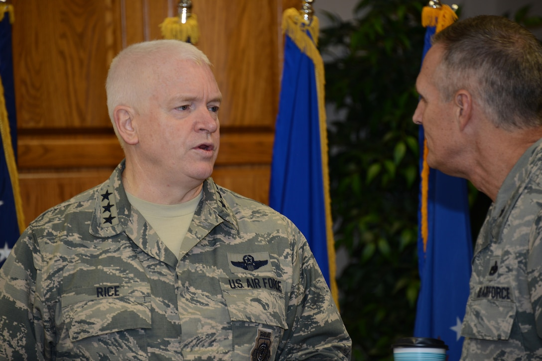 Air National Guard Director, Lt. Gen. Scott Rice, talks with Brig. Gen. Randy Greenwood, Iowa Air National Guard Chief of Staff, prior to the morning briefing at the 185th Air Refueling Wing in Sioux City, Iowa on November 5, 2016.  U.S. Air National Guard photo by Master Sgt. Vincent De Groot 185 ARW PA