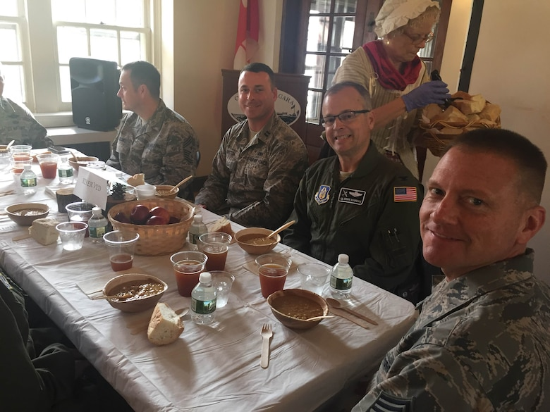 Col. Brian Bowman along with other members of the 914th Airlift Wing enjoy and 18th Century lunch a Old Fort Niagara, Youngstown, N.Y. during the 22nd Air Force conference, November 3, 2016. (courtesy photo)