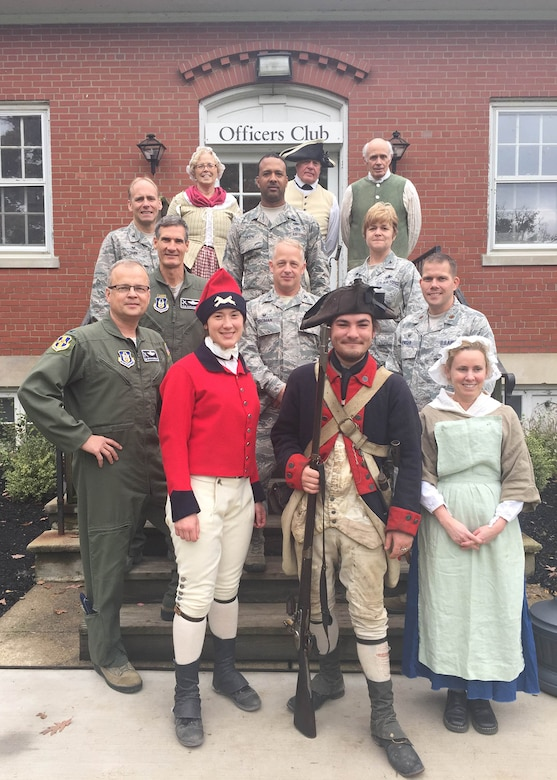 Wing leadership members of the 914 AW pose with reenactor members at Old Fort Niagara in Youngstown NY. The 914th has been hosting a week long 22nd Air Force leadership conference both on base and at the historic fort. (courtesy photo)