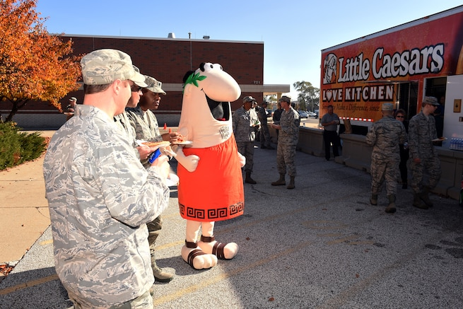 161106-Z-EZ686-050 -- Little Caesars mascot and mobile kitchen treated military personnel to free pizza at Selfridge Air National Guard Base, Mich. on Nov. 6, 2016. Michigan-based Little Caesars donated a total of 275 pizzas to the Selfridge family.  (U.S. Air National Guard photo by MSgt. David Kujawa)