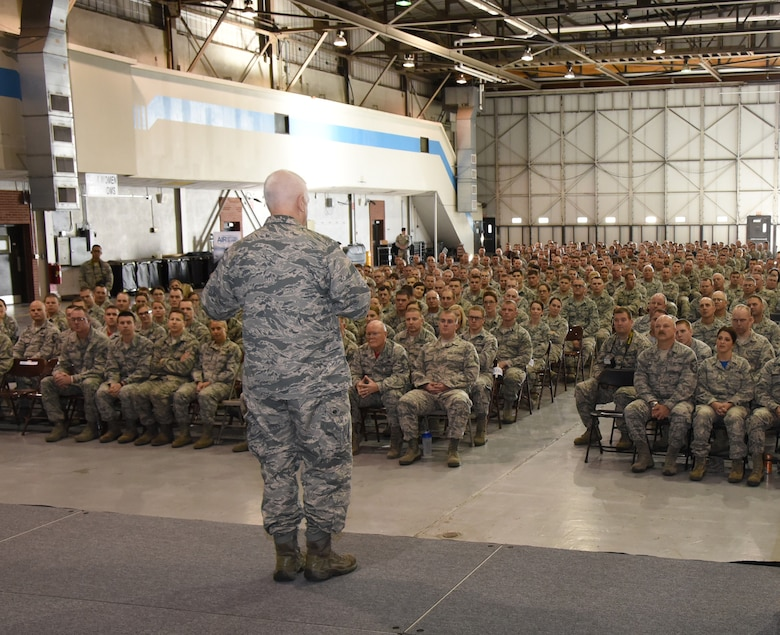 Lt. Gen. L. Scott Rice, Air National Guard director, addresses Airmen from the 114th Fighter Wing during a recognition ceremony at Joe Foss Field, S.D., Nov. 5, 2016. Rice is responsible for formulating, developing and coordinating all policies, plans, and programs affecting more than 105,500 Guard members across the U.S. (U.S. Air National Guard photo by Tech. Sgt. Luke Olson/Released)