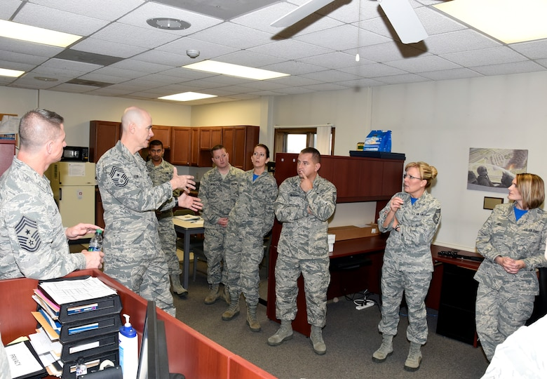 Chief Master Sgt. Ronald C. Anderson, Air National Guard command chief master sergeant, visits with Airmen from Headquarters, South Dakota Air National Guard, Nov. 6, 2016.  As the highest level of enlisted leadership, Chief Anderson is responsible for matters influencing the health, morale, welfare and professional development of more than 105,400 Air Guard members.  (U.S. Air National Guard Photo by Master Sgt. Chris Stewart /Released)
