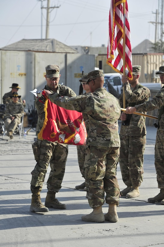 BAGRAM AIRFIELD, AFGHANISTAN (Nov. 2, 2016) - U.S. Army Lt. Col. James C. Reese and Command Sgt. Maj. Randy B. Gray case the 2nd Battalion, 44th Air Defense Artillery Regiment unit colors during their transfer of authority ceremony.  2/44 ADA will return to Fort Campbell, Ky.  Reese and Gray are the battalion commander and command sergeant major, respectively.  Photo by Bob Harrison, U.S. Forces Afghanistan Public Affairs.