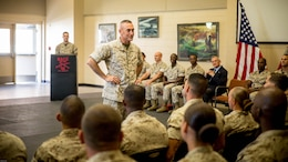 Major Gen. James W. Lukeman, the commanding general of the Marine Corps Training and Education Command, addresses the audience of the first Force Fitness Instructor Course on Marine Corps Base Quantico,Virginia Nov. 4, 2016. The graduates will now return to their respective units and apply all that they've learned over the five-week course.