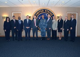 Senior leaders from six of the nation's 10 Federally Funded Research and Development Centers (FFRDC) and three of the 14 University Affiliated Research Centers (UARC) meet with Adm. Cecil D. Haney (center), U.S. Strategic Command commander, during their visit to USSTRATCOM headquarters at Offutt Air Force Base, Neb., Sept. 29, 2016. While here, leaders participated in roundtable discussions on projects and capabilities of their respective organizations. They also received briefings on USSTRATCOM challenges in the 21st century and toured the command's Global Operations Center. FFRDCs and UARCs serve as strategic partners that assist the government with systems engineering and integration, research and development, and study and analysis. (USSTRATCOM photo by Steve Cunningham)