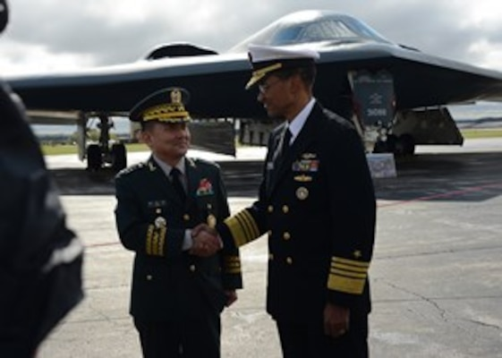 U.S. Navy Adm. Cecil D. Haney, U.S. Strategic Command (USSTRATCOM) commander, right, shakes hands with Republic of Korea (ROK) Gen. Lee Sun-Jin, Chairman of the Joint Chiefs of Staff, left, after touring a B-2 Spirit strategic bomber on the Offutt Air Force Base flightline during Lee's visit to USSTRATCOM headquarters in Nebraska, Oct. 12, 2016. Lee, who visited USSTRATCOM as part of a Chairman's Counterpart Visit, received a command orientation on USSTRATCOM's roles and missions, which include an overall U.S. extended deterrence commitment to the Republic of Korea. (USSTRATCOM photo by U.S. Army Lt. Col. Martin L. O'Donnell)