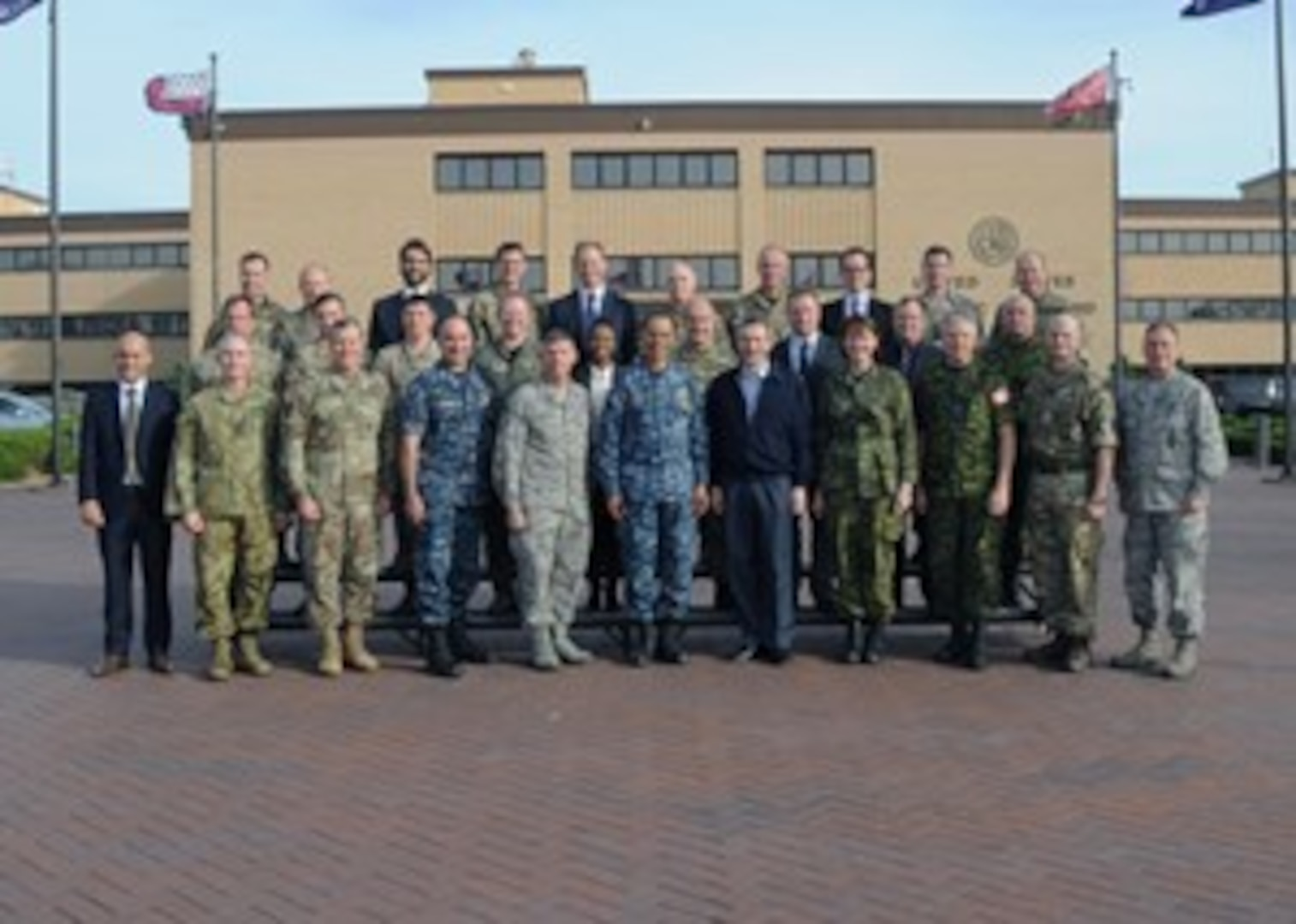 Adm. Cecil D. Haney (front row, center), U.S. Strategic Command (USSTRATCOM) commander; Vice Adm. Charles A. Richard (front row, fourth from left), USSTRATCOM deputy commander; and other senior command leaders host representatives from the U.K. and Canada for exercise Global Thunder 17 at Offutt Air Force Base, Neb., Oct 28, 2016. More than 20 representatives from the U.K. and Canada traveled to the command's headquarters for the exercise and discussions on continuing collaboration in exercise and real-world operations. The U.K. team was led by Operations Director for the U.K. Ministry of Defence Air Vice Marshal Edward Stringer (front row, fifth from right); and the Canadian team was led by Canadian Armed Forces Director General for Cyberspace Brig. Gen. Frances Allen (front row, fourth from right). Hosting these international participants supports USSTRATCOM's priority to build, support and sustain partnerships with allies to confront challenges with agility and innovation. (USSTRATCOM photo by Steve Cunningham)