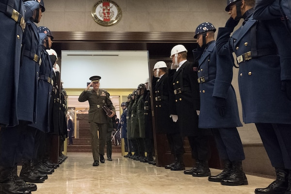 U.S. Chairman of the Joint Chiefs of Staff, Gen. Joseph F. Dunford Jr., salutes the Turkish Honor Guard afters meetings at the Ministry of Defense in Ankara, Turkey, Nov. 6, 2016.  (DoD photo by D. Myles Cullen/Released)
