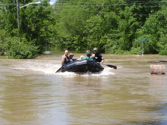 Rescues during floods in Tennessee were made using a Zodiac boat.