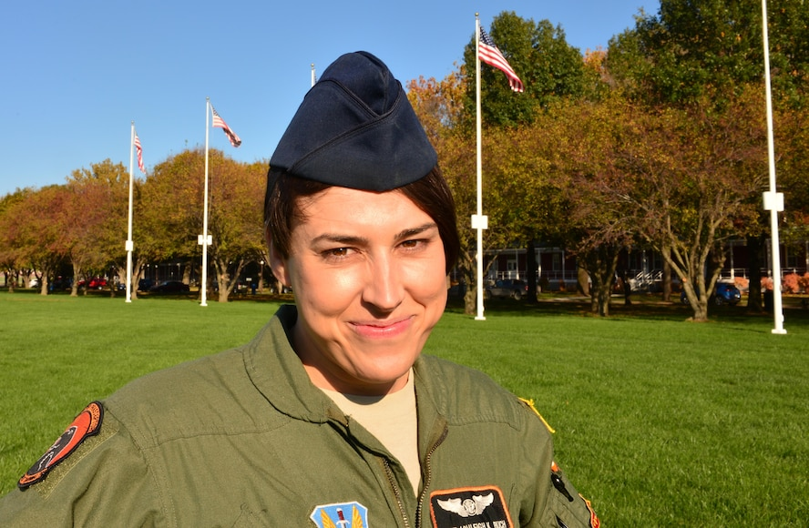 Staff Sgt. Ashleigh Buch, an instructor with the 338th Combat Training Squadron at Offutt Air Force Base, Neb., stands on the Offutt Parade Field Oct. 20, 2016. Buch is the first openly serving transgender Airman to be recommended for a return to flying duties. (U.S. Air Force photo/Senior Airman Rachel Hammes)