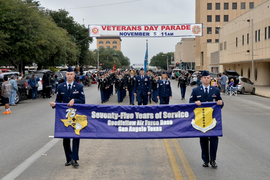 Goodfellow Air Force Base service members march in formation during the Veterans Day Parade in downtown San Angelo, Texas, Nov. 5, 2016. This was the 13th time the Tom Green County's All Veterans Council hosted the parade. (U.S. Air Force photo by Airman 1st Class Randall Moose /Released)