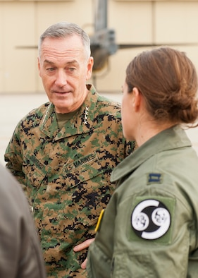 U.S. Marine Corps Gen. Joseph Dunford, chairman of the Joint Chiefs of Staff, speaks to B-52H Stratofortress pilots at Minot Air Force Base, N.D., Nov. 2, 2016. During Dunford's tour, he was briefed on the 5th Bomb Wing and 91st Missile Wing's capabilities. (U.S. Air Force photo/Airman 1st Class J.T. Armstrong)