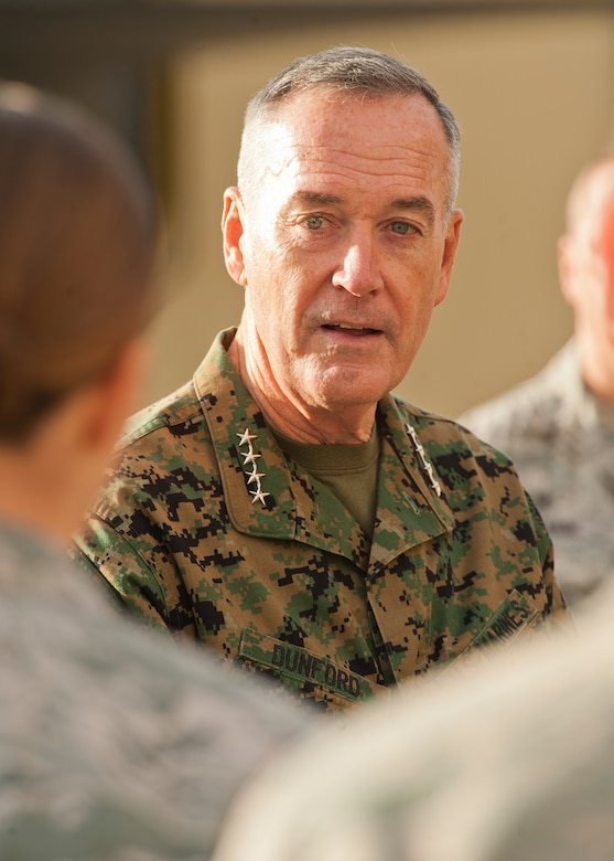 U.S. Marines Corps Gen. Joseph Dunford, chairman of the Joint Chiefs of Staff, speaks Team Minot members at Minot Air Force Base, N.D., Nov. 2, 2016. During his visit, Dunford spoke to Airmen about the future of the Air Force and the importance of Minot's nuclear-capable readiness. (U.S. Air Force photo/Airman 1st Class J.T. Armstrong)