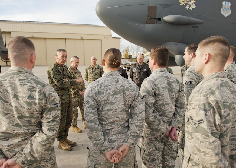 U.S. Marine Corps Gen. Joseph Dunford, chairman of the Joint Chiefs of Staff, speaks to Airmen at Minot Air Force Base, N.D., Nov. 2, 2016. During his visit, Dunford toured various 5th Bomb Wing and 91st Missile Wing's facilities to learn about their mission and capabilities. (U.S. Air Force photo/Airman 1st Class J.T. Armstrong)