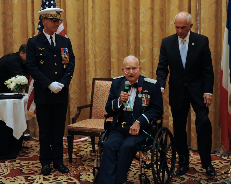 Retired Gen. Seth McKee, World War II veteran, speaks after receiving France's highest honor Oct. 5, 2016 in Scottsdale, Ariz. McKee was also celebrating his 100th Birthday . (U.S. Air Force photo by Airman 1st Class Pedro Mota)