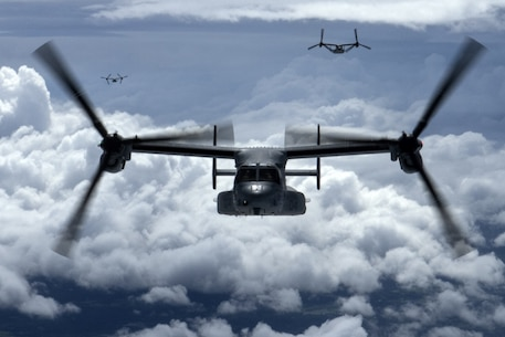 U.S. Marine Corps MV-22B Osprey tiltrotor aircraft with Marine Medium Tiltrotor Squadron 262, 31st Marine Expeditionary Unit, fly west above the Pacific Ocean during scheduled flight operations after departing the amphibious assault ship USS Bonhomme Richard (LHD 6), Sept. 26, 2016. VMM-262 is the Aviation Combat Element for the 31st MEU, and features a variety of fixed-wing, rotary-wing and tiltrotor aircraft. As the Marine Corps' only continuously forward deployed unit, the 31st Marine Expeditionary Unit is prepared to respond to a wide range of military operations, from humanitarian assistance missions to limited combat operations, at a moment's notice. As a balanced air-ground-logistics team, the 31st MEU is ready to respond throughout the Asia-Pacific region.