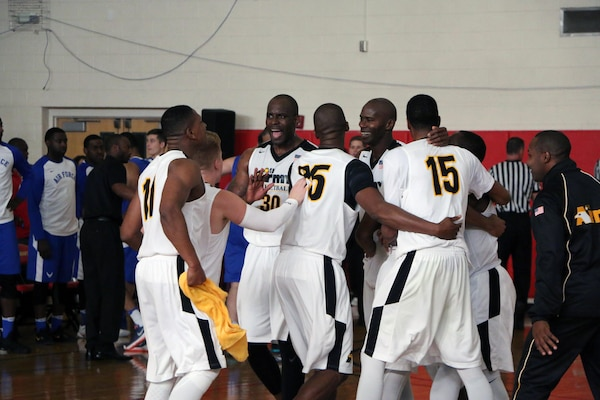 U.S. All-Army Men's Basketball Team celebrates as time expires winning the gold medal, defeating Air Force 67-61.  The 2016 Armed Forces Men's Basketball Championship held at MCB Quantico, Va. from 1-7 November.