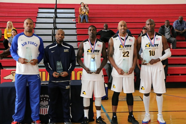 All-Tournament Team.  The 2016 Armed Forces Men's Basketball Championship held at MCB Quantico, Va. from 1-7 November.  From left to right: 