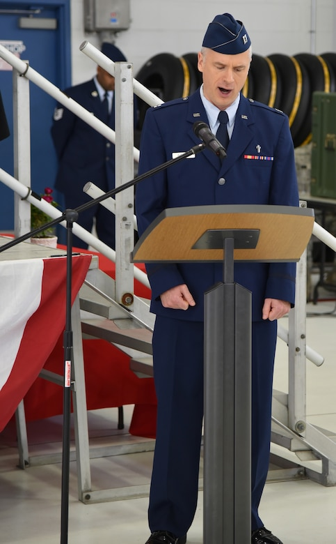 Oregon Air National Guard Chaplain Rory K. Pitstick delivers the invocation during the 142nd Fighter Wing Change of Command ceremony held Nov. 6, 2016, Portland Air National Guard Base, Ore. (U.S. Air National Guard photograph by Staff Sgt. Brandon Boyd, 142nd Fighter Wing Public Affairs)