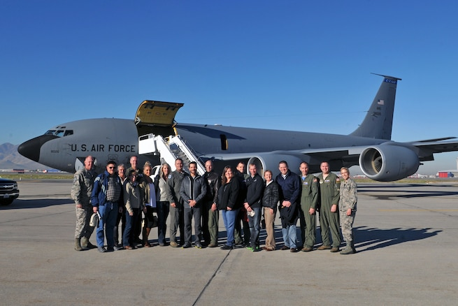 Guests and aircrew prepare to board a KC-135 Stratotanker at Roland R. Wright Air National Guard Base for a civic leader orientation flight Nov. 3, 2016. The Utah Air National Guard hosted the event, which included a mission brief, introduction to senior leaders, and an air refueling sortie to educate leaders on the 151st Air Refueling Wing's mission and capabilities. Participants were treated to a bird's eye view as the KC-135 refueled F-16 Fighting Falcons from Hill Air Force Base. (U.S. Air National Guard photo by Staff Sgt. Annie Edwards/Released)