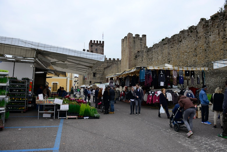 People shop at an open air market in Marostica, Italy on Nov. 1, 2016. The city is well known for hosting a living chest event every other September. (U.S. Air Force photo by Staff Sgt. Krystal Ardrey/Released)
