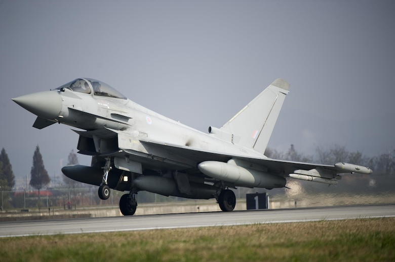 A United Kingdom Royal Air Force Typhoon FGR4 lands during Invincible Shield on Osan Air Base, Republic of Korea, Nov. 8, 2016. The intent of Invincible Shield is to bolster the strong partnership between the RoK, the United States and the United Kingdom while improving the combat capability in the Pacific region. (U.S. Air Force photo by Staff Sgt. Jonathan Steffen)