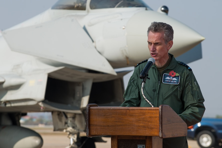 United Kingdom Air Chief Marshal Sir Stephen Hillier, Royal Air Force chief of air staff, speaks during a media event for Invincible Shield, an interoperability exchange, at Osan Air Base, Republic of Korea, Nov. 8, 2016. The RAF, U.S. and ROK air forces participated in Invincible Shield, which marked the first time the RAF has fielded aircraft on the Korean Peninsula since the Korean War. (U.S. Air Force photo by Senior Airman Dillian Bamman)