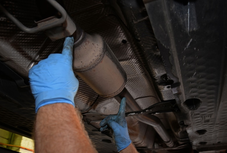 Catalytic converters are parts that filter engine exhaust into less hazardous vapors. Thieves around the area are stealing converters due to the value of platinum inside. (U.S. Air Force photo by Senior Airman Christine Halan)