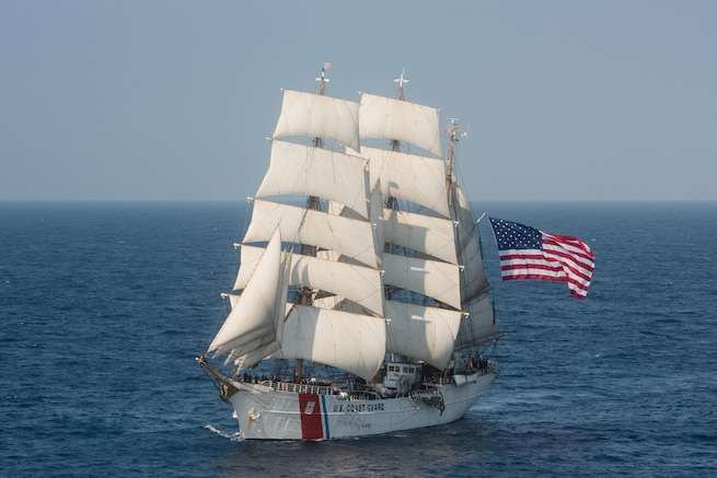 The Barque Eagle is the only active commissioned sailing vessel in American military service. (U.S. Coast Guard photo by Auxiliarist David Lau)