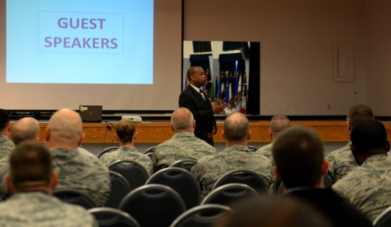 Clarence Benjamin Jr., Northern California director of the Combined Federal Campaign, speaks at the CFC kickoff event Nov. 7, 2016, at Beale Air Force Base, California. Since the first campaign in 1964, Federal employees have donated more than $8 billion for the charities and causes that are near and dear to them. (U.S. Air Force photo/Staff Sgt. Jeffrey Schultze)