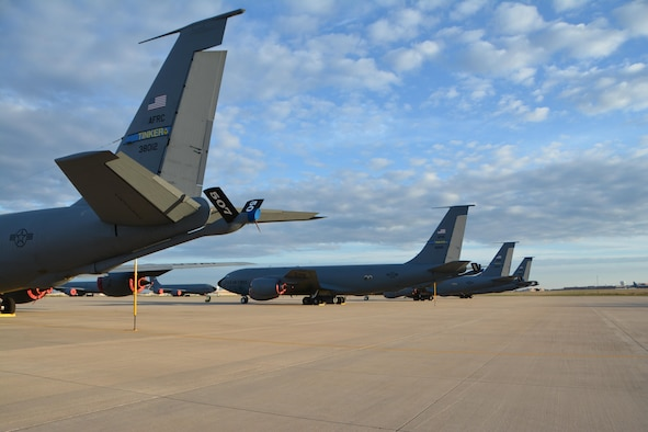 A row of KC-135 Stratotankers sit on the Reserve Ramp at Tinker Air Force Base, Oklahoma, Nov, 6, 2016. Citizen Airmen in the 507th Air Refueling Wing prepared these jets for alert air refueling support during exercise Global Thunder 17.  Exercise Global Thunder provides training opportunities for USSTRATCOM components, task forces, units and command posts to deter and, if necessary, defeat a military attack against the United States and to employ forces as directed by the President. (U.S. Air Force photo /Tech. Sgt. Charles Taylor/Released)