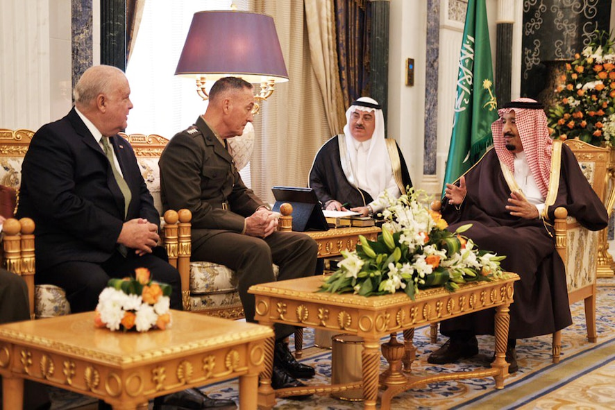 Marine Corps Gen. Joe Dunford meets with King Salman bin Abdulaziz al-Saud