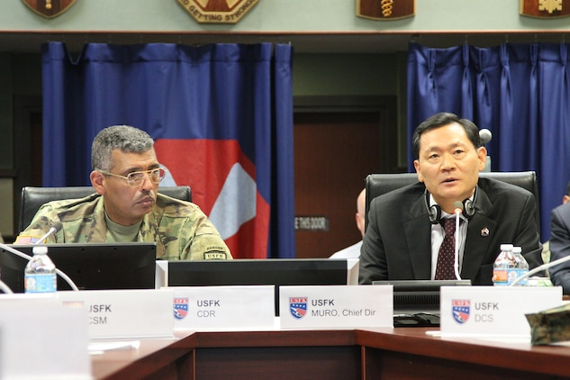 U.S. Forces Korea Commander US Army GEN Vincent K. Brooks and U.S. Forces Relocation Office Chief Director Kim, Kie Soo discuss logistics of the upcoming relocation to Camp Humphreys at US Army Garrison Yongsan November 3. The first major wave of unit moves is set to begin in the spring.