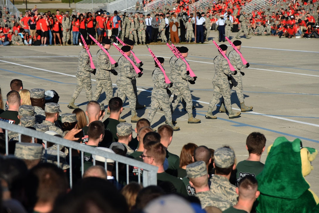 "Members of the 334th Training Squadron freestyle drill team perform during the 81st Training Group drill down at the Levitow Training Support Facility drill pad Nov. 4, 2016, on Keesler Air Force Base, Miss. The quarterly drill down featured an open ranks inspection, regulation drill routine and freestyle drill routine categories. The 81st TRG's four non-prior service training squadrons competed in the competition, with the 334th TRS ""Gators"" taking home the overall first place. (U.S. Air Force photo by Kemberly Groue/Released)"