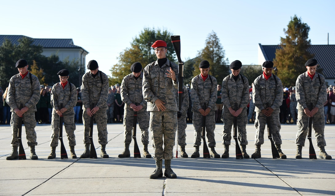 "Members of the 336th Training Squadron freestyle drill team perform during the 81st Training Group drill down at the Levitow Training Support Facility drill pad Nov. 4, 2016, on Keesler Air Force Base, Miss. The quarterly drill down featured an open ranks inspection, regulation drill routine and freestyle drill routine categories. The 81st TRG's four non-prior service training squadrons competed in the competition, with the 334th TRS ""Gators"" taking home the overall first place. (U.S. Air Force photo by Kemberly Groue/Released)"