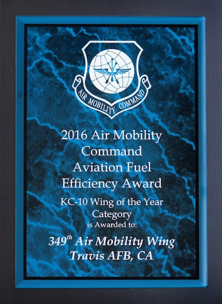 Gen Everhart presented AMC's Fuel Efficiency Awards.  These awards recognize the outstanding work units have done this past year to increase energy awareness and efficiency.  The winners for 2016 are: C-17, the 154 WG, Hawaii ANG at Hickam C-130, the 153 AMW, Wyoming ANG at Cheyenne C-5, the 436 AW, Dover AFB Active Duty KC-10, the 349 AMW, Travis AFB Reserves KC-135, the 126 ARW, Illinois ANG at Scott AFB (courtesy photo)