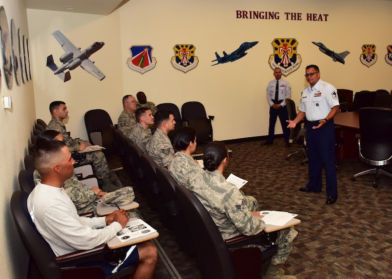 Master Sgt. Carlos Recoder, 433rd Training Recruiters military training instructor supervisor, talks with 944th Fighter Wing Airmen about becoming MTIs Nov. 5 at Luke Air Force Base, Ariz.