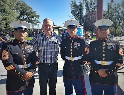 """Marine Corps Recruiters from RSS Kennewick met legendary U.S Marine Corps Gen. James """"Mad Dog"""" Mattis while participating in a Walk of Remembrance in the Tri-Cities. (Courtesy Photo)"""