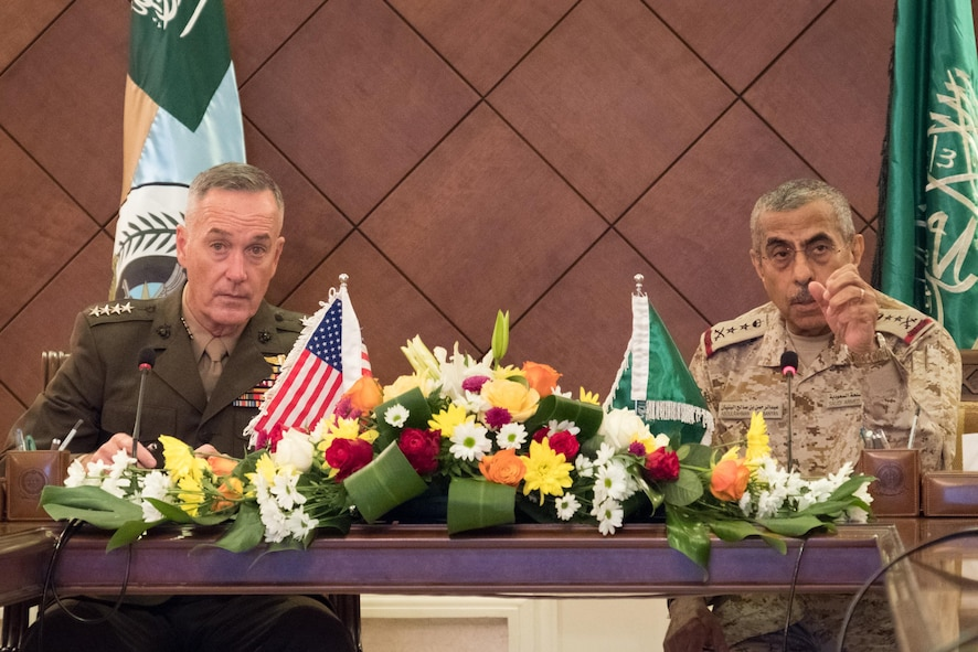 Marine Corps Gen. Joe Dunford, chairman of the Joint Chiefs of Staff, and his Saudi counterpart, Gen. Abdulrahman bin Salah Al-Banyan, meet with their staffs in Riyadh, Saudi Arabia.