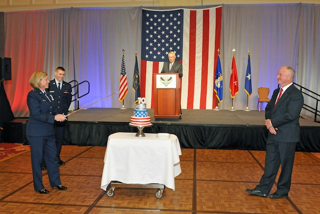 Brig. Gen. Christine Burckle, Utah Air National Guard Commander, prepares to cut the cake at the Utah Air National Guard 70th Anniversary Gala on Nov. 4, 2016, at The Grand America Hotel in Salt Lake City. More than 450 military and civilian guests attended the event hosted by the Utah Air Force Association. (U.S. Air National Guard photo by Staff Sgt. Annie Edwards)