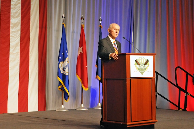 Lt. Col. (Ret.) Jay Hess, prisoner of war and Hanoi Hilton survivor, addresses a group of more than 450 military and civilian guests at the Utah Air National Guard 70th Anniversary Gala on Nov. 4, 2016. The event, hosted by the Utah Air Force Association, was held at The Grand America Hotel in Salt Lake City. (U.S. Air National Guard photo by Staff Sgt. Annie Edwards)