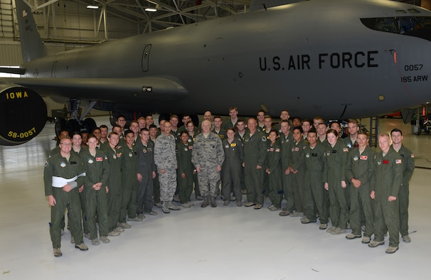 40 Cadets from the United States Air Force Academy in Colorado Springs, Colo. stand with the Director of the Air National Guard, Lt. Gen. Scott Rice (center) in front of a U.S. Air Force Startotanker assigned to the 185th Air Refueling Wing, Iowa Air National Guard, in Sioux City, Iowa on November 5, 2016.
