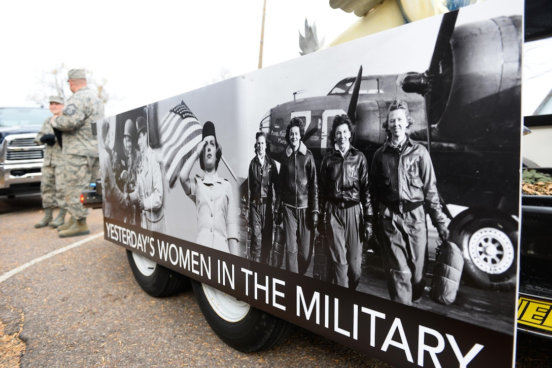 A sign honoring women veterans adorns a float during the Colorado Springs Veterans Day Parade in Colo., Nov. 5, 2016. Air Force photo by Christopher DeWitt