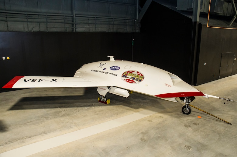 DAYTON, Ohio -- Boeing X-45A J-UCAS on display in the Research and Development Gallery at the National Museum of the United States Air Force. (U.S. Air Force photo)
