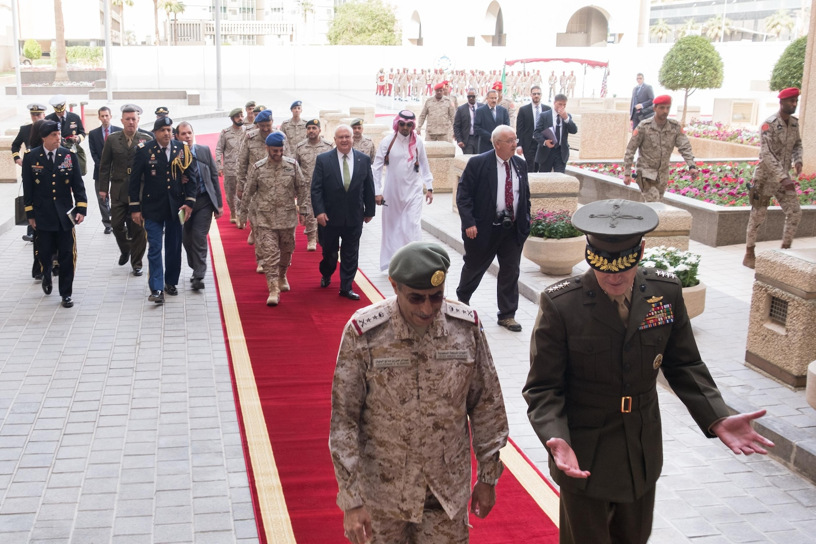 Saudi Chief of Defense Gen. Abdulrahman bin Saleh al-Banyan and Marine Corps Gen. Joe Dunford, chairman of the Joint Chiefs of Staff, walk to a meeting in Riyadh, Saudi Arabia, Nov. 8, 2016. Dunford was in Saudi Arabia to further military relations between the two nations. DoD photo by D. Myles Cullen