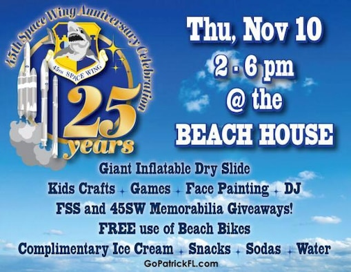 The 45th Space Wing will celebrate another significant milestone in its rich and storied history of providing assured access to space, when the wing turns 25 years young on Nov. 12, 2016. A celebration will take place on Nov. 10, 2016, at the Patrick Air Force Base Beach House from 2-6 p.m. (Graphic courtesy of the 45th Force Support Squadron)