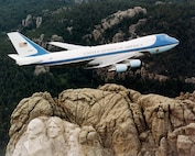 Air Force One is flown over Mount Rushmore in Keystone, South Dakota. (U.S. Air Force photo)