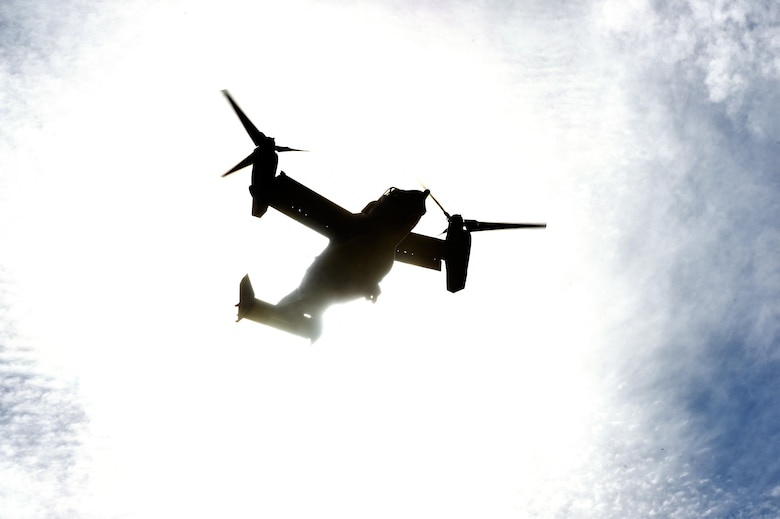 A CV-22 Osprey flies over Camp Shelby, Miss., during Task Force Exercise Southern Strike, Oct. 26, 2016. The CV-22 crews with the 8th Special Operations Squadron provided infiltration/exfiltration and fast-roping training for Naval Special Warfare personnel. (U.S. Air Force photo by Senior Airman Jeff Parkinson)